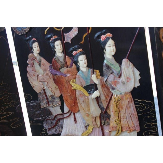 Vintage Asian Ebony Lacquer Folding Screen - Image 6 of 10