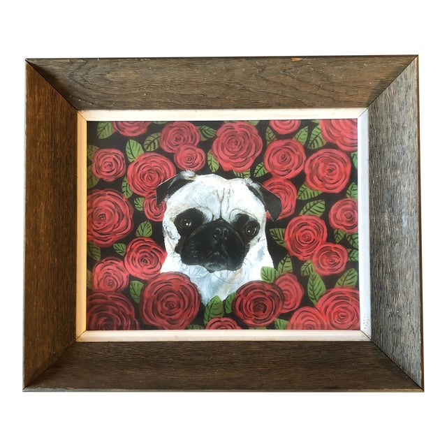 Contemporary Pug in Red Roses Dog Print by Judy Henn For Sale