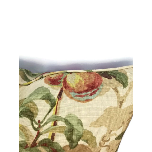 """2010s Brunschwig & Fils Peach Tree in Beige and Blue Linen Print Pillow Cover - 20"""" X 20"""" For Sale - Image 5 of 7"""