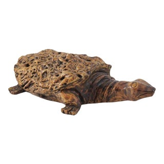 Lifesize Burl Wood Turtle Sculpture