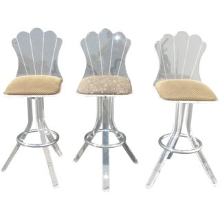 Vintage Mid Century Lucite Swivel Bar Stools - Set of 3