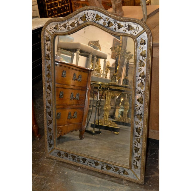 1940s 1940s French Jansen Reverse Painted Mirror For Sale - Image 5 of 7