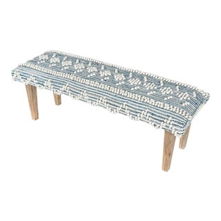 Recycled Indigo Denim Handwoven Bench For Sale
