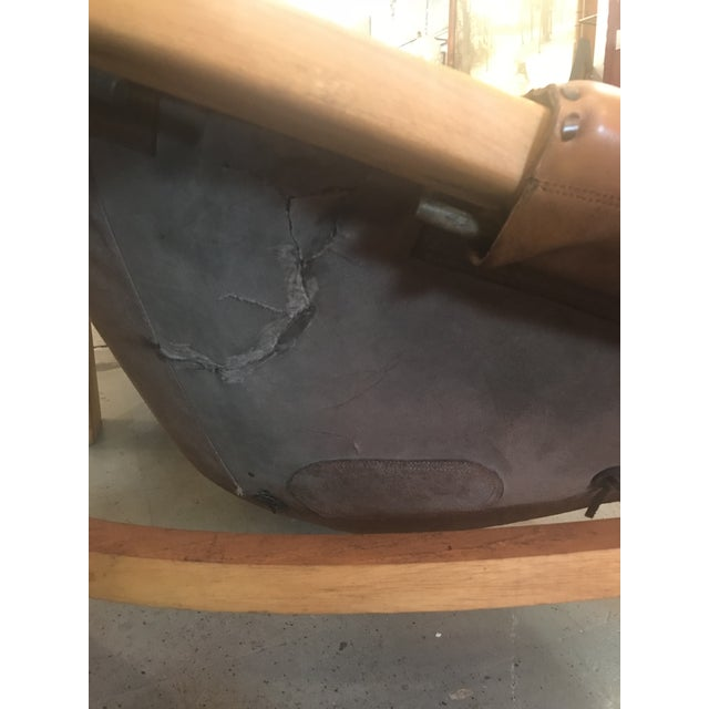 Vintage Mid Century Cognac Brown Leather Sofa For Sale - Image 10 of 13