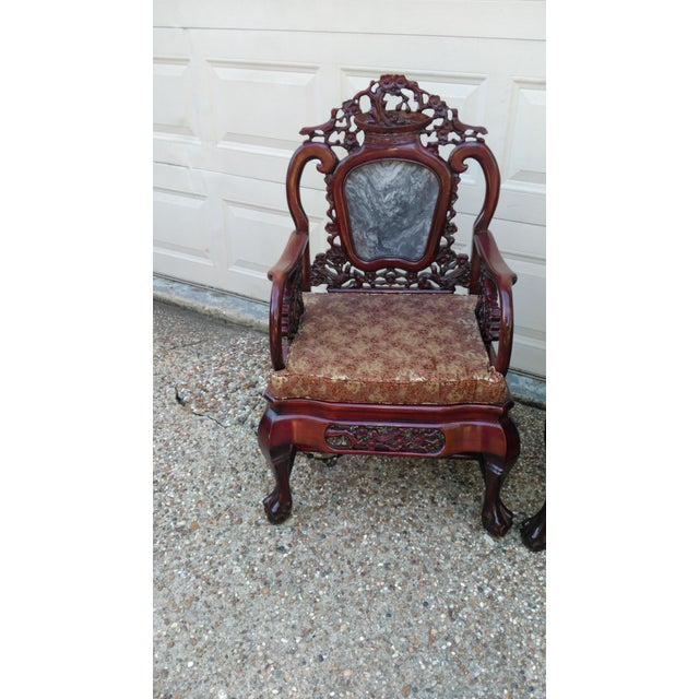 Chinese Carved Solid Rosewood Marble Back Armchairs - a Pair - Image 4 of 9