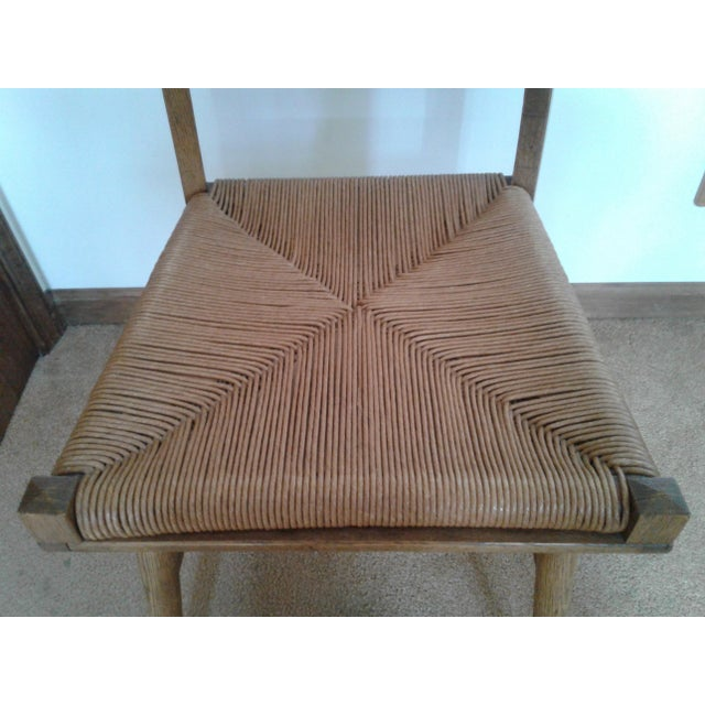 Mid-Century Modern Rush and Hardwood Side Chair For Sale - Image 4 of 12