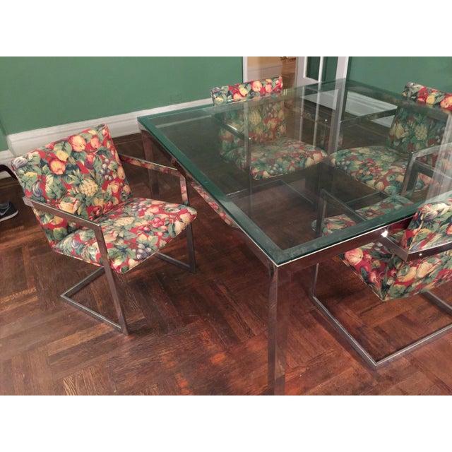 vintage roche bobois modern chrome glass dining table. Black Bedroom Furniture Sets. Home Design Ideas