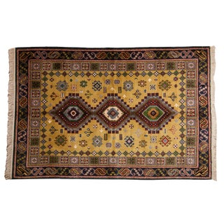 "Vintage Siberian Caucasian Design Carpet - 5'9"" X 8'8"" For Sale"