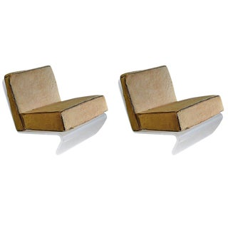 1970s Mid-Century Modern Tan Cushion Lucite Lounge Chairs - a Pair For Sale