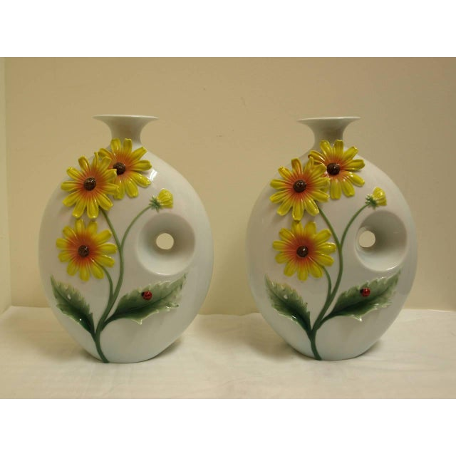 Mid-Century Sunflower Vases - Pair - Image 2 of 5
