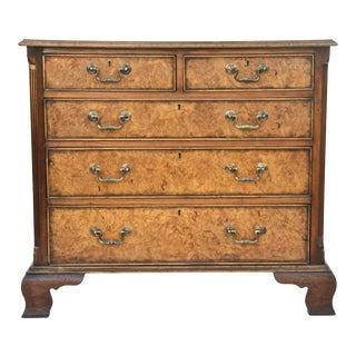 English Georgian Style Walnut Burl Chest of Drawers For Sale