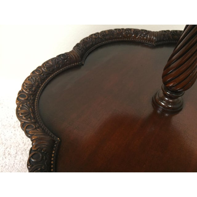 Vintage Chippendale Two Tier Colonial Revival Pie Crust Table For Sale In Saint Louis - Image 6 of 13