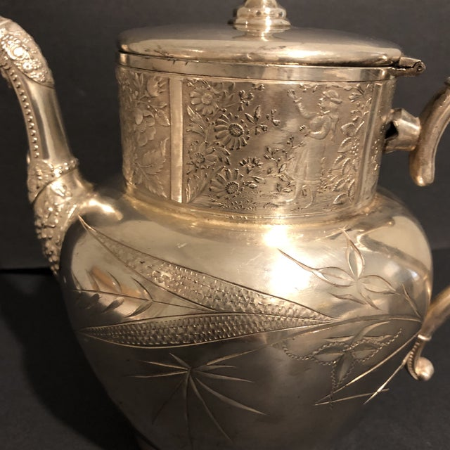 Late 19th Century Victorian Aurora Silver Plate Teapot For Sale - Image 5 of 13