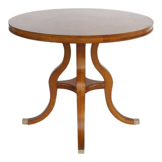 Round Matched Grain Veneer Side Table For Sale