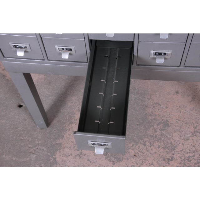 Shaw Walker Mid-Century 54-Drawer Metal Library Card Catalog For Sale - Image 10 of 13