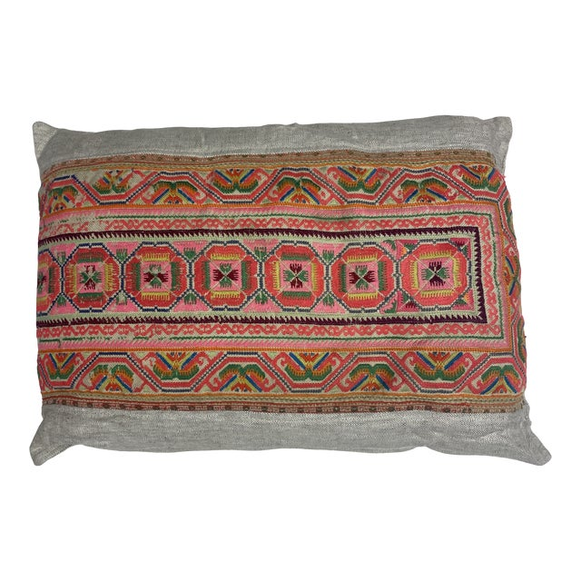 Chu Hmong Embroidered Pillow For Sale