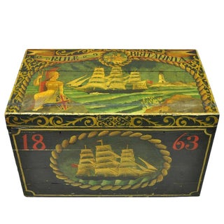 English Nautical Green Painted Ship Trunk For Sale