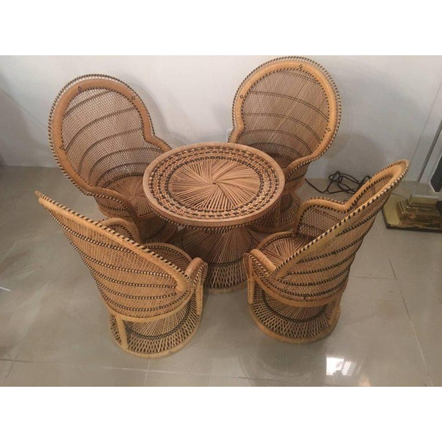 Rattan Wicker Peacock Children's Dining Table Chairs Set For Sale - Image 9 of 12