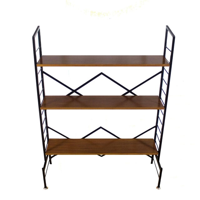 1950s 1950s Pair of Small Bookcases, Blackened Steel, Mahogany Shelves, Brass, Italy For Sale - Image 5 of 9
