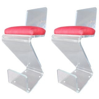 Pair of Vintage Lucite Bar Stools For Sale