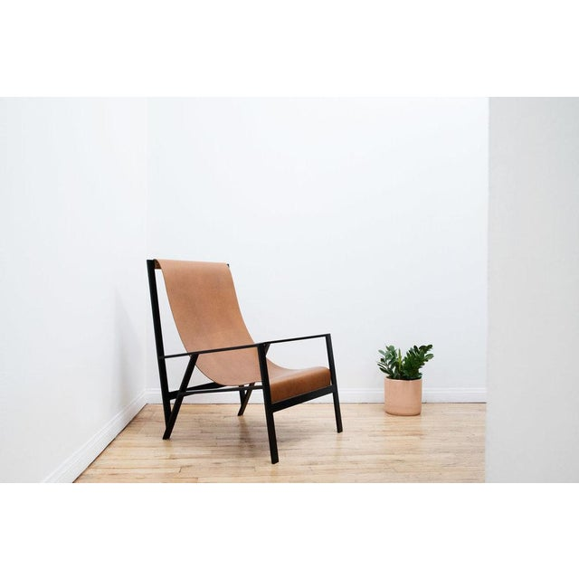 """The Foreman Brothers Foreman Brothers """"Hampton"""" Leather Sling Lounge Chair For Sale - Image 4 of 7"""