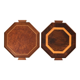 Mid-Century Modern Burlwood Barware or Serving Trays - a Pair For Sale