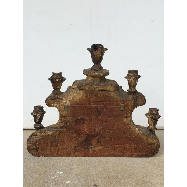 Early 18th century Italian carved Chinoiserie candelabra with original carved and gilded decoration. Out of a California...
