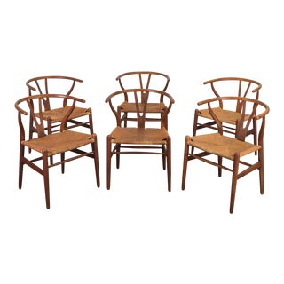 Set of Six Wegner Wishbone CH-24 Dining Chairs for Carl Hansen & Son