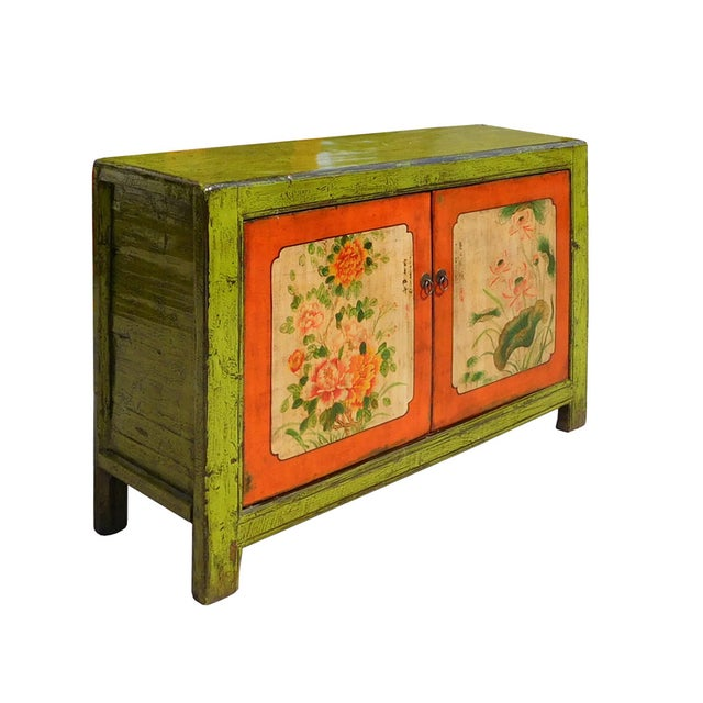 Lime Green & Orange Flower Side Table or Cabinet - Image 3 of 6