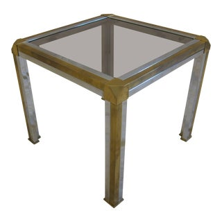 Italian Brass Chrome and Glass Side Table For Sale