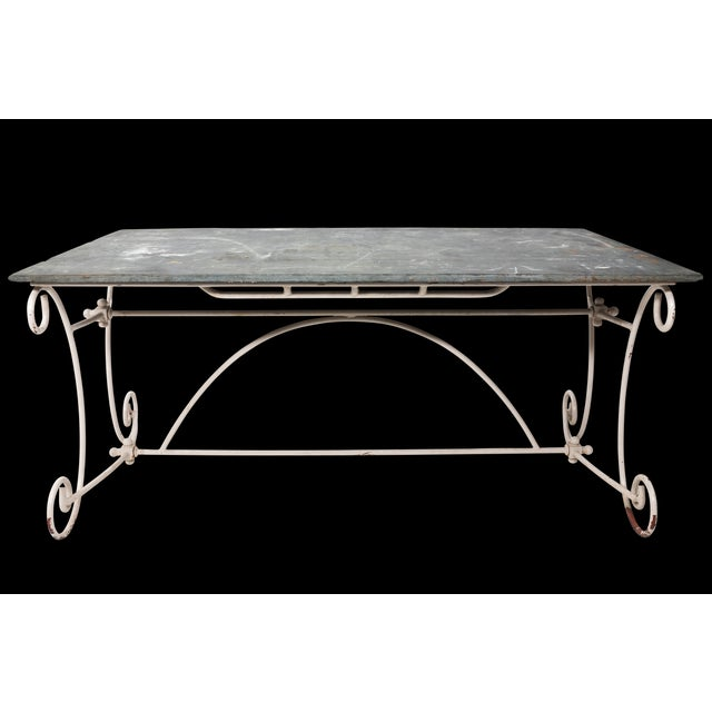 White Scroll Base Garden Dining Table For Sale - Image 11 of 11