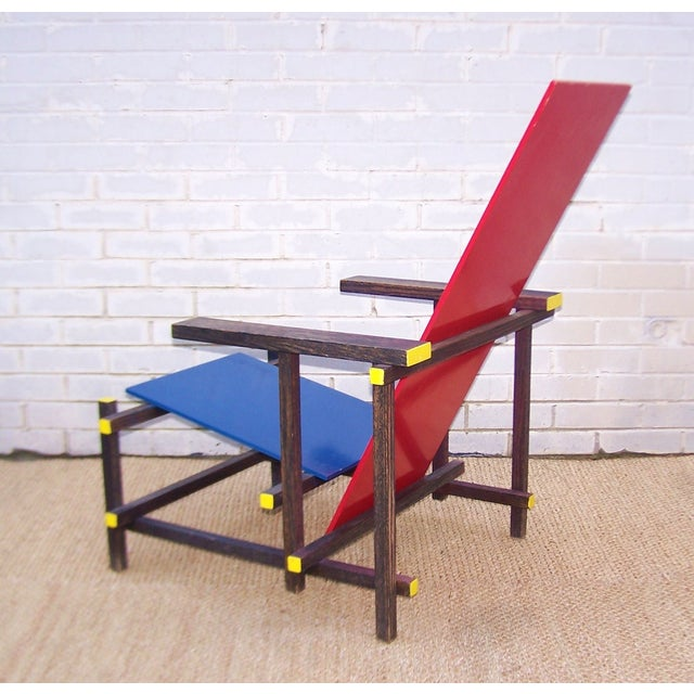 Gerrit Rietveld Style Red & Blue Chair For Sale - Image 5 of 11