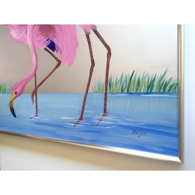 """Rare Vintage 1950s Art Deco """" Pink Flamingos in Lagoon """" Framed Original Fine Art Gouache Painting on Board For Sale - Image 12 of 13"""