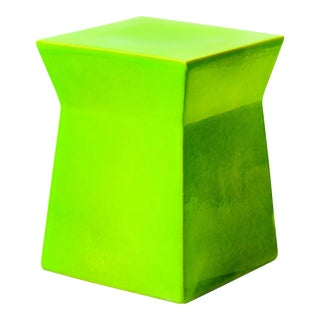 Ashlar Handmade Glazed Ceramic Outdoor Accent Stool, Bright Green For Sale