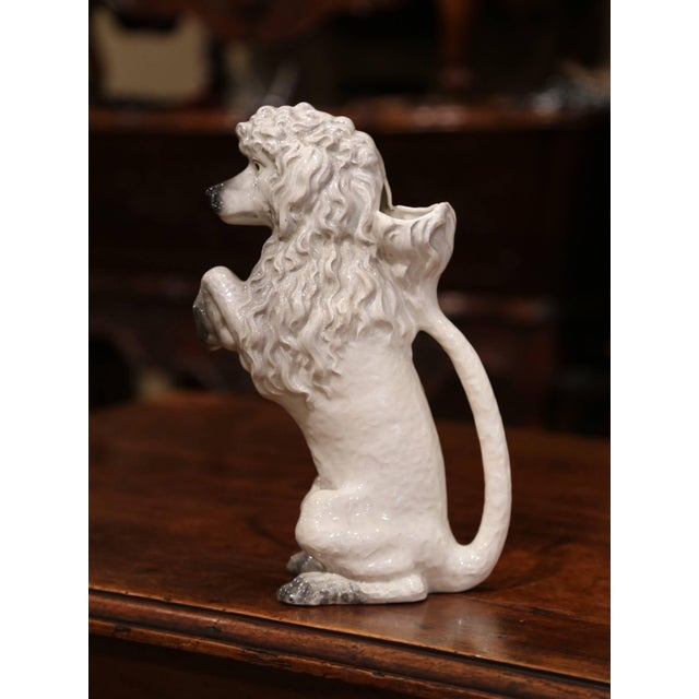 19th Century French Saint Clement Painted Ceramic Barbotine Poodle Pitcher For Sale - Image 4 of 10