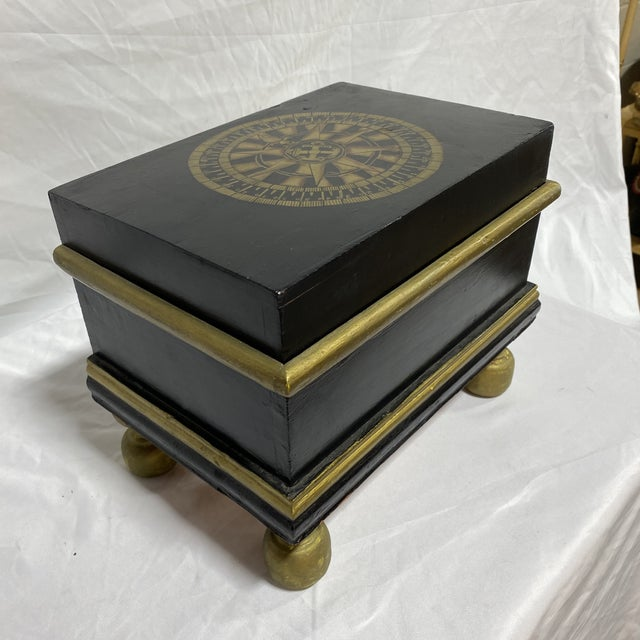 Hollywood Regency Hand Painted Nautical Box For Sale - Image 3 of 11
