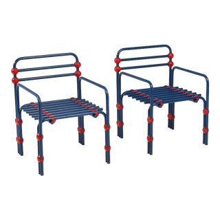 Italian Postmodern Pair of Armchairs in Red and Blue For Sale