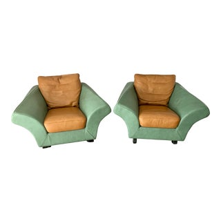 Postmodern Roche Bobois Arm Chairs - a Pair - Custom Made For Sale