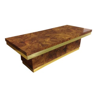 1970's Faux Burl and Brass Coffee Table