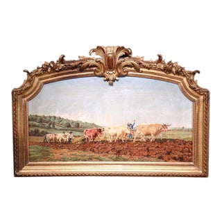 Early 20th Century French Oil Cows Painting in Carved Arched Gilt Frame For Sale