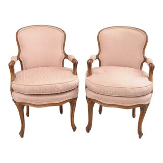 Vintage Country French Provincial Louis XV Style Arm Chairs- A Pair For Sale
