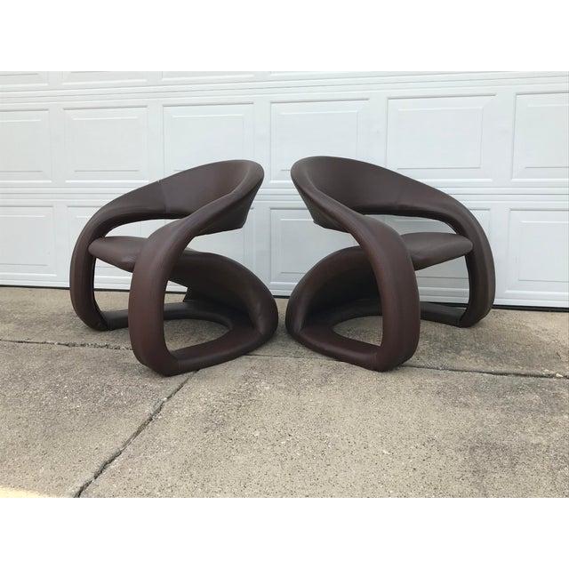 1990s 1990s Vintage Jaymar Memphis Sculptural Cantilever Lounge Chairs - a Pair For Sale - Image 5 of 9