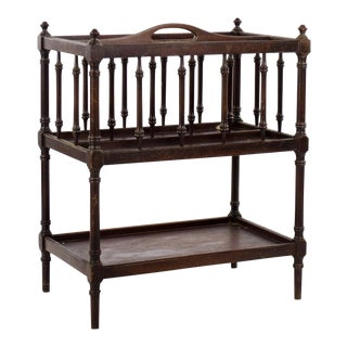 19th C. Vintage Victorian Mahogany 2 Tier Canterbury For Sale
