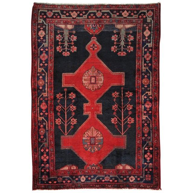 """Vintage Hamadan Wool Area Rug- 5' x 7' 4"""" - Image 1 of 3"""