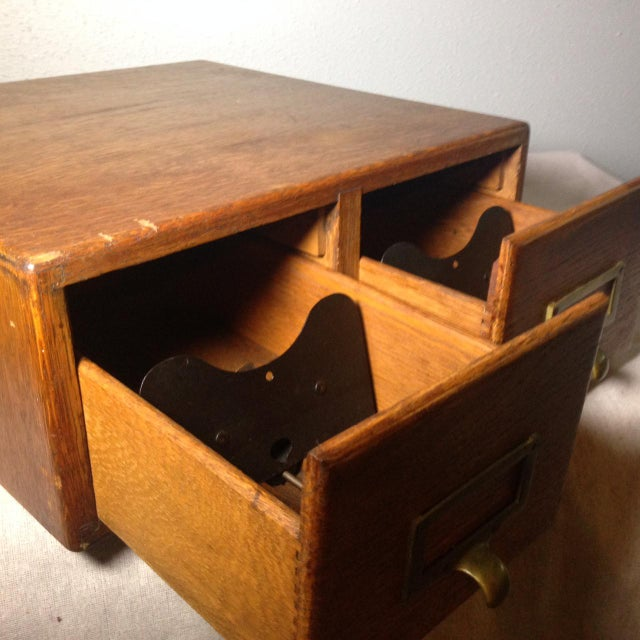 Brass Early Twentieth Century Wooden Library Card Catalog For Sale - Image 7 of 13