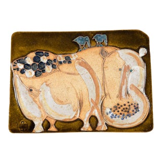 Hal Fromhold American Studio Ceramic Hippo Wall Plaque For Sale