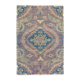 "Kafkaz Peshawar Cyrus Purple Blue Wool Rug - 2'7"" x 4'1"""