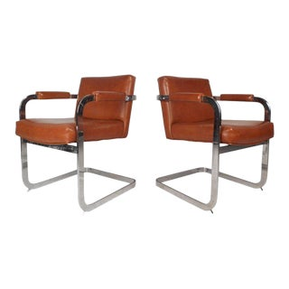 Mid-century Modern Cantilever Lounge Chairs by Milo Baughman - a Pair For Sale