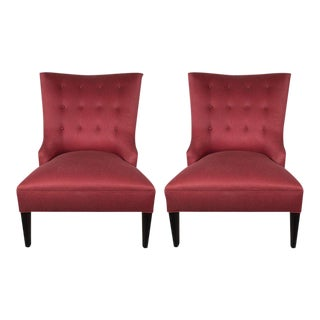 Mid-Century Modernist Slipper Chairs in Vermilion Sharkskin Upholstery For Sale