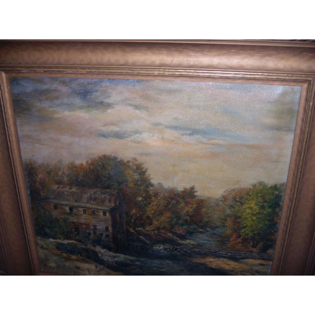 Gold Painting of a Country Mill by a Stream For Sale - Image 8 of 8